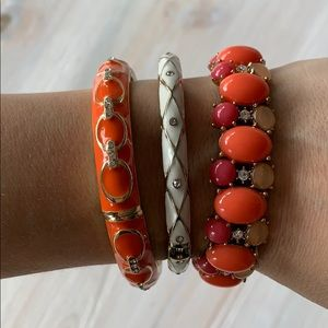 Jewelry - Three white, coral, orange, gold bracelets EUC